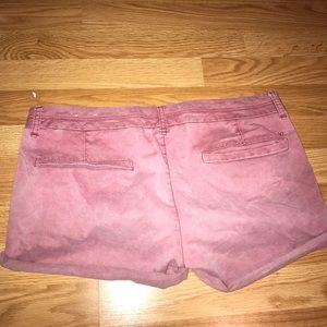 Faded Maroon American Eagles Jean Shorts